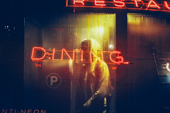 the killing moon (Louis Dazy) Tags: 35mm analog film double exposure night dark neon dining silhouette
