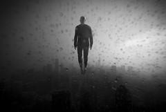 raven (momozart) Tags: momozart blackandwhite bookcover albumcover architecture architectural artsy city chicago cloudy chicity levitate levitation selfportrait moody noiretblanc sky cityscape windycity urban fog foggy man highrise raining rain rainy skyline skyscraper skies
