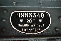 986348 number Wishaw 090518 (Dan86401) Tags: 986348 db986348 zbo grampus fishkind br open ballast wagon freight infrastructure engineers departmental civilengineer cambrian moverightinternational wishaw