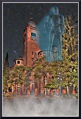 KunHolographIsoManAtPrestonCastleNight_4871d (bjarne.winkler) Tags: hikari sensei kun master light is trying out how it be hologram projection