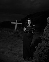 Vanessa Alexander at the boot hill cemetery in Cerrillos (Mitch Tillison Photography) Tags: beautiful stunning gorgeous woman female model goth gothic gotica dark mistress alluring sexy sensual cemetery graveyard night nighttime mitchtillison photo photography atmospheric alternative nikon d5 nikkor 2870 f28 neewer modellight modelinglight 400 vision 5