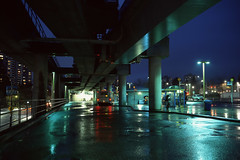 Rainy Bus Depot (Orion Alexis) Tags: film 35mm analog 6x9 120 fuji fujifilm gw690 provia 100f 100 rain wet night photography long exposure bus depot station lougheed canada vancouver slide positive