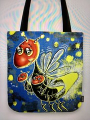 """""""Momma Firefly with her Babies"""" totebag, available as many other cool products too.  25% Off Everything today with code:  ART4MOM. My original design/artwork. Mother's Day is right around the corner! (sassyone2013) Tags: mothersday mothersdaygifts giftsformom firefly fireflies babies bugs insects cute kawaii mum mother mom mommy artformom whimsical nurseryart nurserydecor babystuff indieart indiegifts shoppingformom love kindness sweet indiegiftsformom momstuff totebag totebags whimsicalart"""