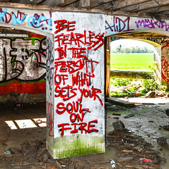 Can spray paint come with a spell checker please? (robmcrorie) Tags: fearless pursuit what sets your soul fire fiction barn graffiti spray can paint vandalism nikon d7500 persuit