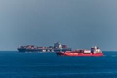 The Race! (langdon10) Tags: atsea atlanticocean canon70d lngtanker navigation ship straitsofflorida tanker containership nautical ocean