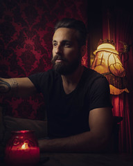 USA - Truckee - 20180502 - 1098.jpg (livrePEDRO) Tags: portrait cinematic inside fashion retro moody lowlight 4x5 fujifilm red california male beards style model antique beard lamp pattern tattoo mensfashion shapes urban vertical redlight vintage watch evening texture wall candle man colorful classic menstyle usa backlight unitedstatesofamerica selfportrait orange nightlife profile lifestyle interior dramatic