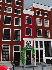 Singel 166 (aukbricks) Tags: lego moc legomoc architecture legoarchitecture largescale singel166 amsterdam thenetherlands netherlands nederland holland house canal canalhouse grachtenpand door window curtain houseplant computerrendering