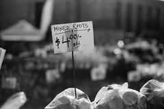 Mixed Root Veggies (3blondmice) Tags: black white minolta srt 201 nyc new york city grain bw kodak vintage analog 35mm film keep alive is dead farmers market sign root vegetables