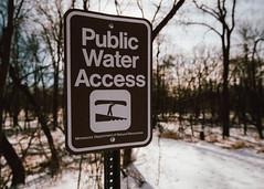 Public Water Access Sign on the Cannon River, Minnesota (Tony Webster) Tags: cannonriver cannonriverwildernessarea departmentofnaturalresources minnesotadnr ricecounty river riveraccess snow winter faribault minnesota unitedstates us