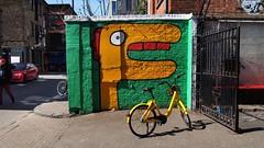 Wall art with yellow bike, Shoreditch, London E1. (edk7) Tags: olympusomdem5 edk7 2018 uk england london londone1 eastlondon londonboroughoftowerhamlets shoreditch spitalfields streetart mural wallart city cityscape urban art colour building structure bicycle bike