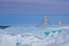 Blue Ice at Mackinaw (mobius2016) Tags: mackinaw island city winter frozen ice bridge sleeping bear dunes michigan