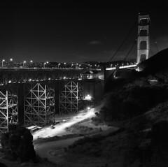 Golden Gate Bridge (Zeb Andrews) Tags: hasselblad500c kodaktrix sanfrancisco goldengatebridge bridgeworld california blackwhite 6x6 mediumformat film monochrome cityscape westcoast filmisnotdead filmphotography night urban zaahphoto bridge suspensionbridge famouslandmarks scannedatbluemooncamera nikoncoolscan9000