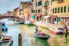 Gondolier - Textured (byron bauer) Tags: byronbauer gondolier venice canal riodellamisericordia italy rio water gondola boat bridge buildings sky texture painterly windows shutters balcony tile roof people awnings colorful reflections