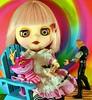 Blythe Doll Trippin'! (Thor In The Garden, Pullips, Blythe, Monster High,) Tags: blythedoll takarablythe cheshirecat cheshirecatvinylfigure thoractionfigure psilocybin psychedlic eyechips pinkhair dollswithbigheads dollswithbigeyes hippie lsd tripping colors