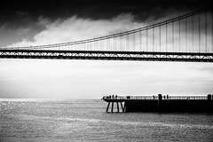 Fishermen, Pier 14, San Francisco (Paddy O) Tags: california bridge bay water 2018 sanfranciscobay monochrome ferryterminal pier sanfrancisco blackwhite embarcadero fishermen baybridge pier14 baytobreakers
