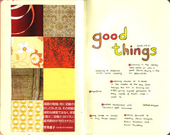 good things 2006.08.01 (kristin ladstrm) Tags: red brown inspiration moleskine yellow collage paper grid mixed media mixedmedia journal leftovers journals artjournal gluestick collagejournal goodthings tisdagsregn tiiin