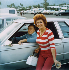 g-ma bob hope (dogseat) Tags: blue grandma woman celebrity film smile car pose dorothy hope star 1982 automobile grandmother stripes famous fame bob cadillac redhead squat harvey moviestar imperial booze comedian 1983 chrysler smirk edition dottie bobhope franksinatra chryslerimperial canitakeyourpicture dorothyharvey