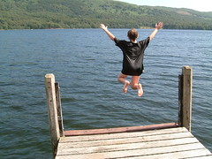 Jump! (Kaptain Kobold) Tags: uk england lake holiday swim jump jetty great lakedistrict explore monthlyscavengerhunt caughtintheact coniston msh cei conistonwater kaptainkobold interestingness467 yourfave i500 torver msh0407 msh040712