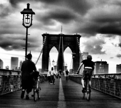 Brooklyn bridge (cordes) Tags: life new york city nyc newyorkcity bridge boy bw usa newyork brooklyn speed america manhattan united bikes biking biker oldlady states lamps anticipation