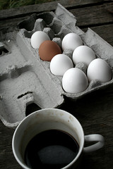 Odd Egg Out (melanie.phung) Tags: coffee breakfast favorites eggs photofriday desaturated interestingness46 interestingness33 i500 melaniephung abigfave explore1sep06