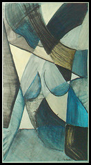 illustration friday | subtract | 03/20/09 (.}i{. laureski kolaure) Tags: blue woman illustration painting drawing femme dessin illustrationfriday picasso leaning cubism picoish