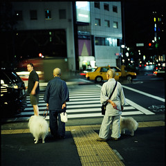 The Truths about Nun and Monk:Double Dog Date (TommyOshima) Tags: japan tokyo monk nun flektogon portra urbanlifeinmetropolis exakta66 angkorsingle sept17242006
