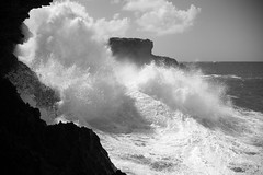 Where the Sea Meets the Sky (halfgeek) Tags: ocean travel bw islands waves badge barbados powerful atlanticocean caribbeansea animalflowercaves pleasantlytilted