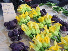 Purple Artichokes and Squash Flowers