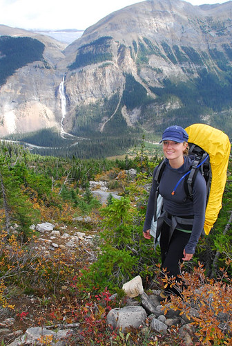 Colette on Iceline Trail with Takakkaw Falls in background, Yoho NP, BC, Canada