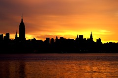 (pmarella) Tags: new city nyc newyorkcity morning sky urban usa newyork color building water clouds sunrise reflections river landscape gold cityscape minolta manhattan silhouettes viewlarge empirestatebuilding cityskyline donttrythisathome hudsoncounty citybelt riverviewpkproductions