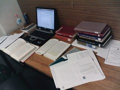 Essay Time (Rousseau and Women): My desk at the library (tim.riley) Tags: essay desk laptop library books study rousseau universityofadelaide barrsmithlibrary