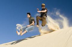 A good day for jumping around in the sand (2) (Bjarte Sorensen) Tags: sun beach topf25 jump sand bravo 500v20f action accepted1of100 been1of100 australia 100v10f stocktonbeach kkfav kkblog