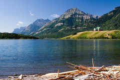 On the Shore of Waterton Lake (Robby Edwards) Tags: vacation lake canada water hotel nationalpark shoreline driftwood shore alberta watertonlakes waterton princeofwales watertonlakesnationalpark specland watertonglacierinternationalpeacepark abigfave middlewatertonlake