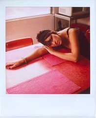 Marcy, Laying on the Table (Lou O' Bedlam) Tags: polaroid losangeles marcy polaroid680 louobedlam 10106photoshoot lounoble louobedlamcom