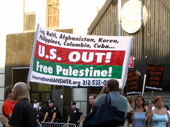 Free Palestine (Vidiot) Tags: nyc 2004 sign palestine banner protest free national convention republican protester protesters rnc answer republicannationalconvention freepalestine stalinist
