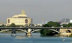 Spain - Seville (Chris&Steve) Tags: bridge espaa building architecture river puente sevilla spain arquitectura europe expo stadium edificio seville architectural iberia v600i 10millionphotos