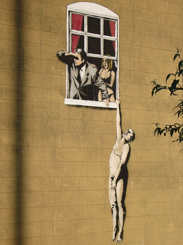 Banksy Graffiti (Park Street) Close shot