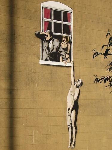 banksy graffiti. Close up shot of Banksy#39;s