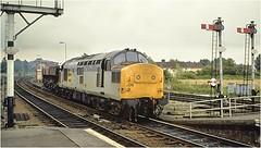 37308. Aylesbury 1988. (Alan Burkwood) Tags: aylesbury station 1988 37308 semaphore signals box diesel locomotive coal freight wagons