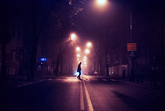 moonlighting (ewitsoe) Tags: fog mist haze ewitsoe nikond80 poznan poland euroep autumn street center lines man walking work morning night dark foggy streetlights life urban polska neighborhood jezyce lamps haunting haunted atmosphere