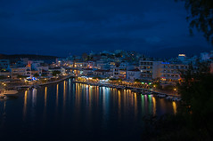 Night View (Tony Shertila) Tags: 20160410201356 agiosnikolaos geo:lat=3519069070 geo:lon=2571623012 geotagged grc greece europe crete agiosnicholas city view weather night clouds cloudy sky lights lake water reflection