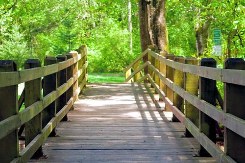 A foot bridge at Pioneer Park in Stayton Oregon