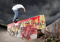 front blunt (Edan Ohayon) Tags: park red storm rain yellow clouds dark graffiti paint bc skateboarding hurricane front bum crunk blunt hubba