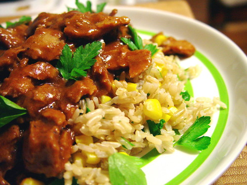 Seitan Chipotle Mole with Brown Rice and Corn