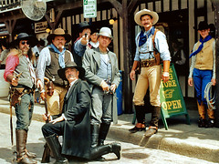 Western Dudes, Ft. Worth Stockyards (StevenM_61) Tags: usa men cowboys texas unitedstates hats 1999 western guns fortworth outlaws thefunhouse stockyards westernclothing