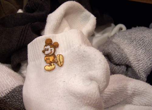 Mickey goes for a stroll on some socks