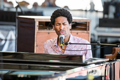 Jon Batiste at the New Orleans Jazz and Heritage Festival on Sunday, April 29, 2018