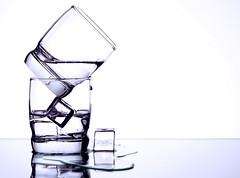 Square (Karen_Chappell) Tags: glass glasses ice bw monotone water icecubes liquid stilllife white square geometric