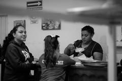 Evening (Ojo de Piedra) Tags: neighborhood everydaylife women smile people blackwhite streetphoto evening fujifilm fujixseries mexico documentary monochrome xt10 girls sweets xf1855mm bakery panaderia