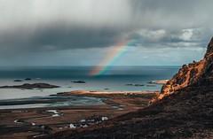 Rainbows and Sunshine (Kym Ellis) Tags: lake ocean view mountain landscape lofoten scandinavia norway arctic fujifilm xpro2 18mm classicchrome nomadic noma northernnorway islands arcticcircle roadtrip adventure rainbow sunshine cloudy